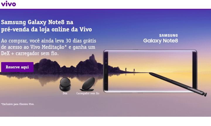 Vivo inicia pré-venda do Samsung Galaxy Note 8