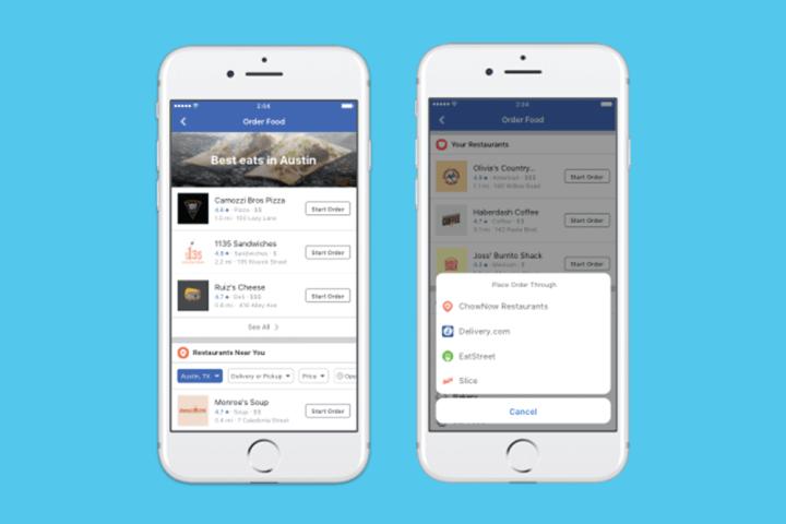 facebook 1 720x480 - Usuários nos EUA agora podem pedir comida pelo Facebook