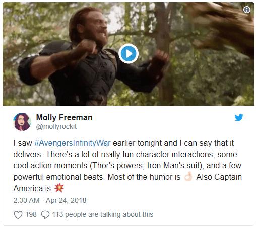 Screenshot 1 - Vingadores: Guerra Infinita surpreende nas primeiras reações ao filme