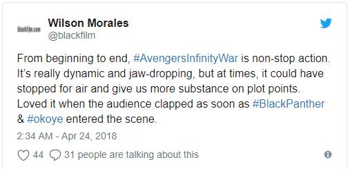 Vingadores: Guerra Infinita surpreende nas primeiras reações ao filme 12