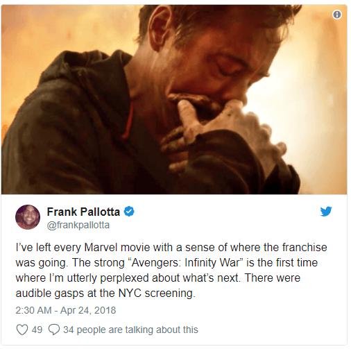 Vingadores: Guerra Infinita surpreende nas primeiras reações ao filme 14