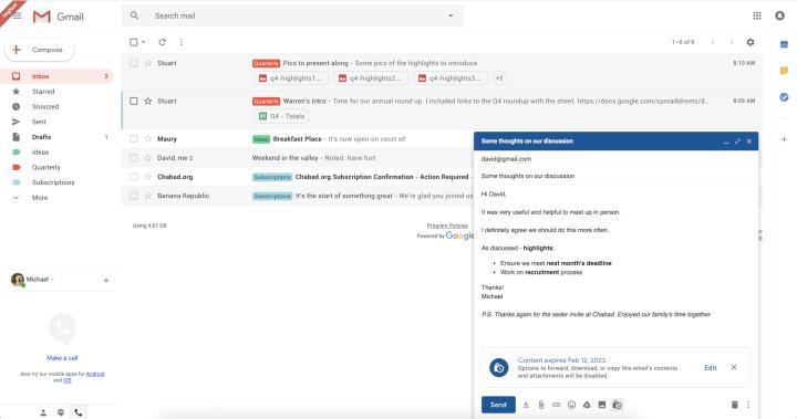 Vazam imagens do modo confidencial do novo Gmail 9