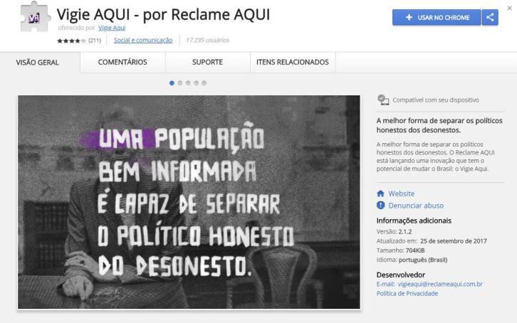vigieaqui - Extensão do Chrome alerta sobre os políticos condenados por corrupção