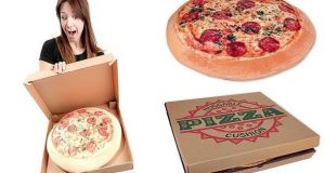 Cojín con forma de pizza