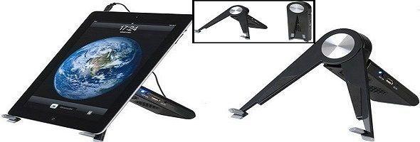Soporte con altavoces para tablet, móviles, MP3...