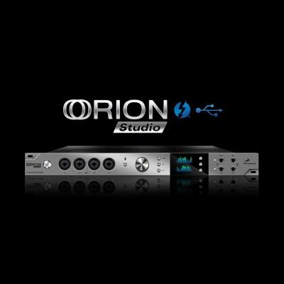 L'Orion Studio propose 12 préamplis micro, 2 ports ADAT, 2 sorties Monitor,1 port S/PDIF, 1 Word Clock, et des effets pour les guitaristes.
