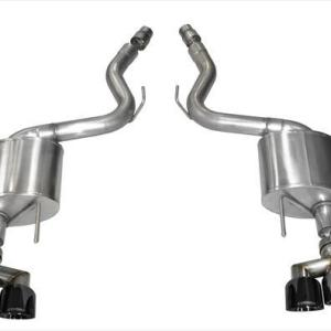 3.0 Inch Axle-Back Sport Dual Exhaust Black 4.0 Inch Tips 15-Present Mustang GT Fastback 5.0L (Fits 18-Pres Non-Valve, Premium Pkg Only, Requires Roush Rear Valance Mods) Stainless Steel Corsa Performance