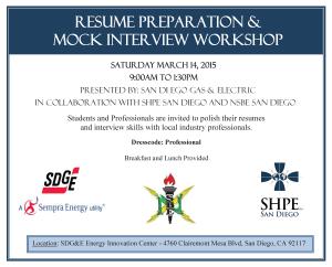 SDG&E Resume and Interview Workshop Flyer