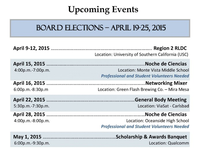 SHPE April 2015 Upcoming Events