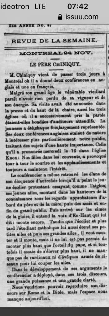 Article dans l'Aurore 1887