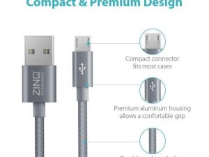 Best Zinq Technology 1.5 Micro USB Cable – 4.9 Feet (1.5 M)-(Silver)