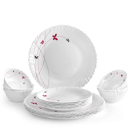 Dinner Plate Set: Cello Lush Fiesta Opalware Dinner Set, 18Pcs Online at Best Prices