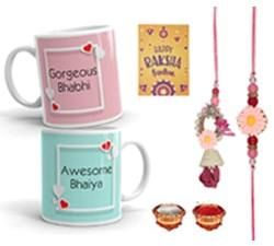 Rakhi for Brother and Bhabhi | Gift PackDesigner Lumba Rakhi Set, 2 Printed Coffee Mugs, Rakshabandhan Special Card, Roli Chawal (Set 6)