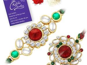 Rakhi Floral Combo (Set of 2) with Roli Chawal and Raksha Bandhan Greeting Card For Men
