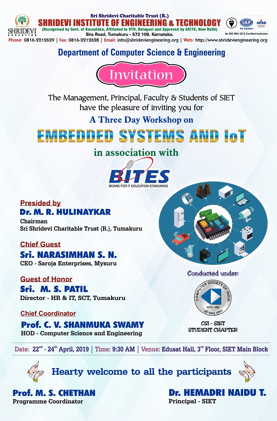 A Three Day Workshop on Embedded Systems and IoT