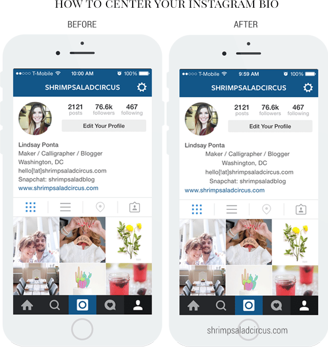 How to Center Your Instagram Bio - Before and After