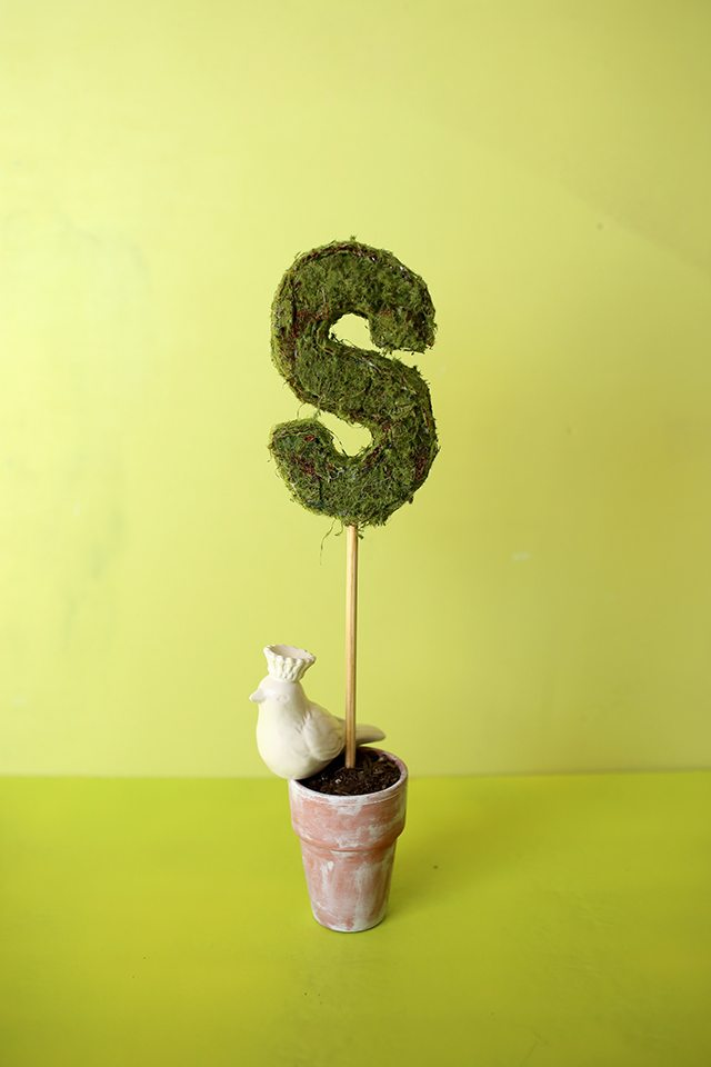 DIY Monogram Topiary