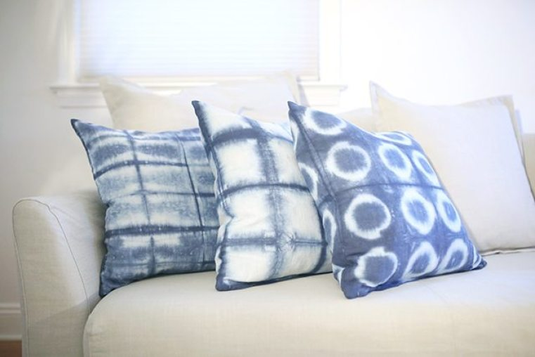 Shibori Dyed pillows by shrimp salad circus