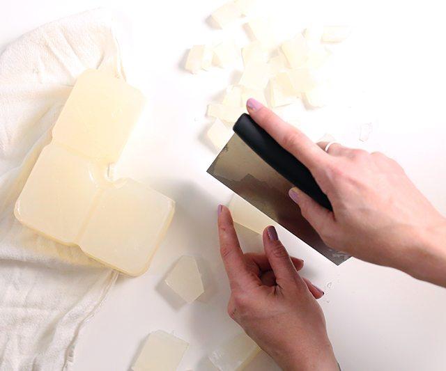 DIY Matcha GreenTeaSugar Scrub Cubes - Step 1 - Cutting the soap