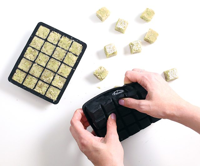 DIY Matcha Green Tea Sugar Scrub Cubes - Step 10 - Dry and release from mold