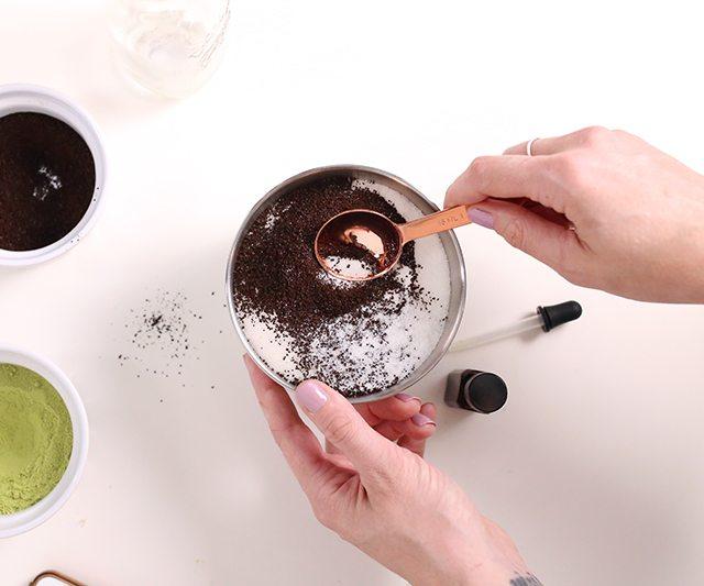 DIY Matcha GreenTeaSugar Scrub Cubes - Step 5 - Mix sugar and exfoliating additive