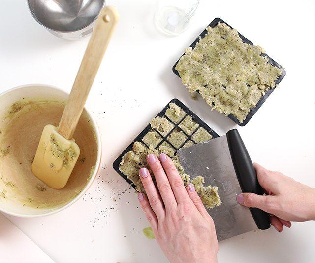 DIY Matcha GreenTeaSugar Scrub Cubes - Step 9 - Cut away excess to smooth