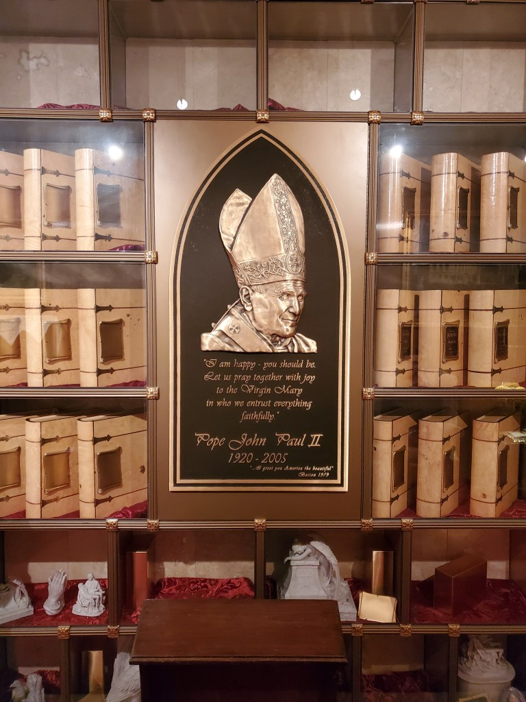Pope St. John Paul II Memorial Columbarium, with the Books of Life for placement of cremated remains - in our main Chapel Mausoleum