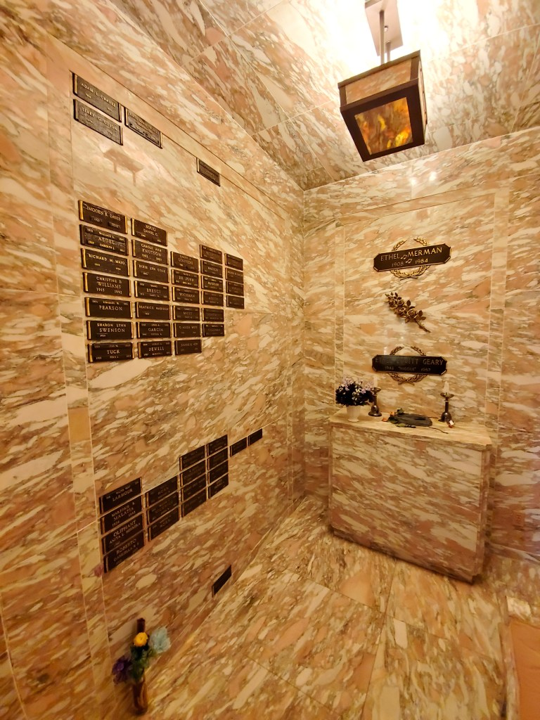 "Ethel Merman Columbarium in the interior of the ""America the Beautiful"" Chapel"