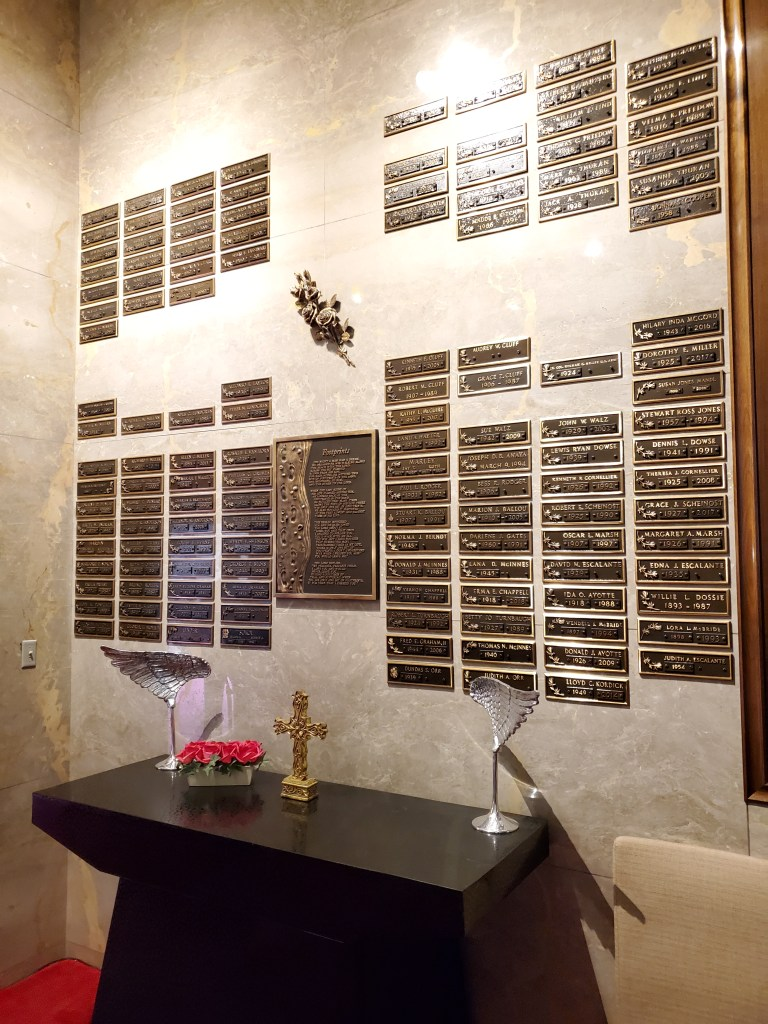 "Columbarium of Roses with bronze memorialization plaques in the ""America the Beautiful"" Chapel"
