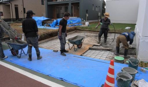 駐車場のコンクリート打設状況