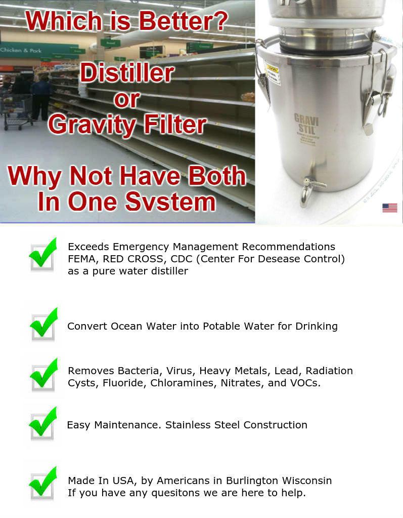 Gravi-Stil Emergency Water Distiller Info Graphic
