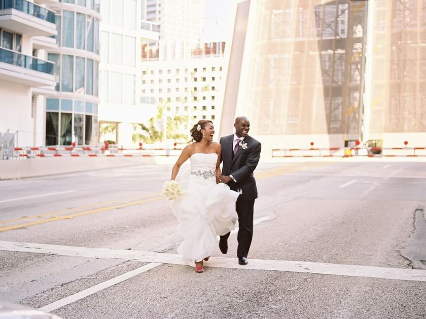 Bride And Groom Running With Their Personal Style