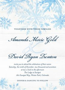 Inspirational Winter Wedding Invitations Shutterfly