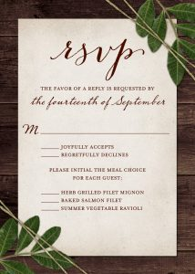 Rsvp Etiquette Traditional Favor Dinner Options Filled Out