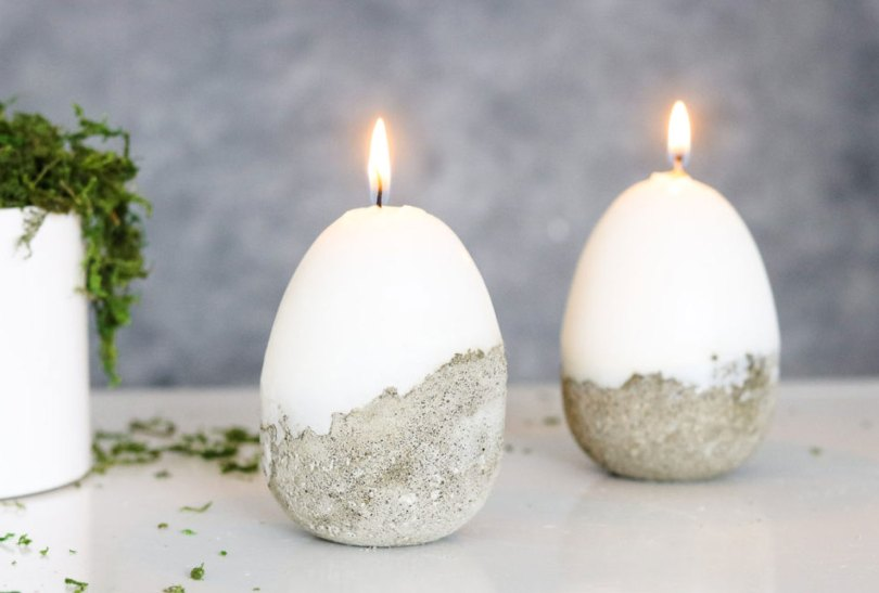concrete dipped candles