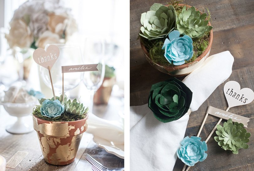 potted paper succulents