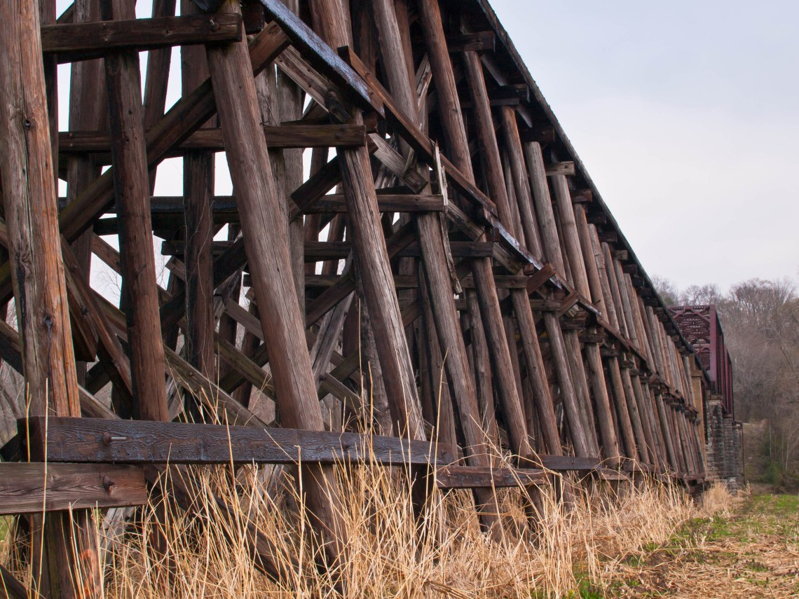 Old Wooden Train Trestle in Centerville, Tennessee