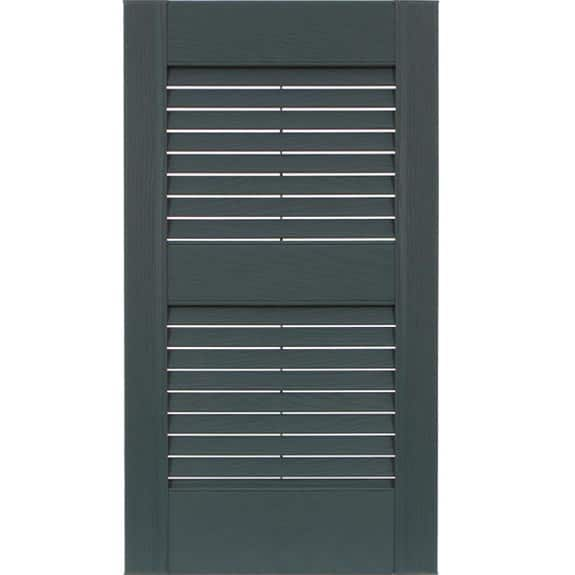 Exterior louvered vinyl shutters in colonial blue.