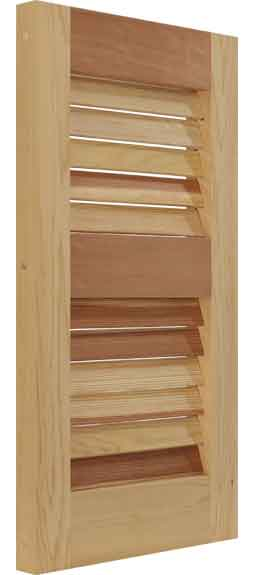 Louvered exterior house shutters constructed form Western Red Cedar.