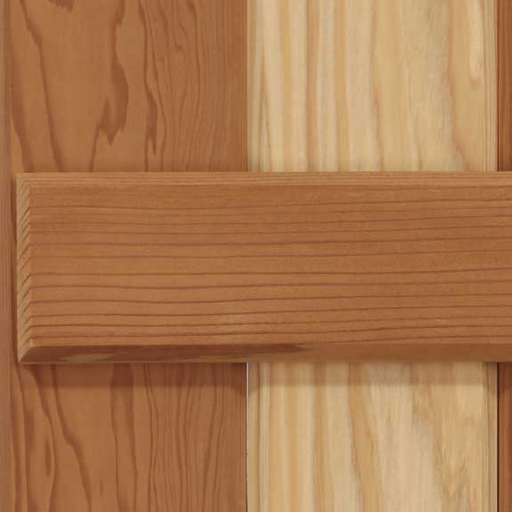 Solid wood cedar board & batten exterior shutter.