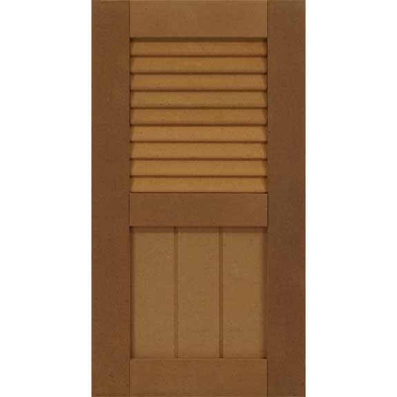 Outside combo exterior shutter with louvers and farmhouse shaker panel.
