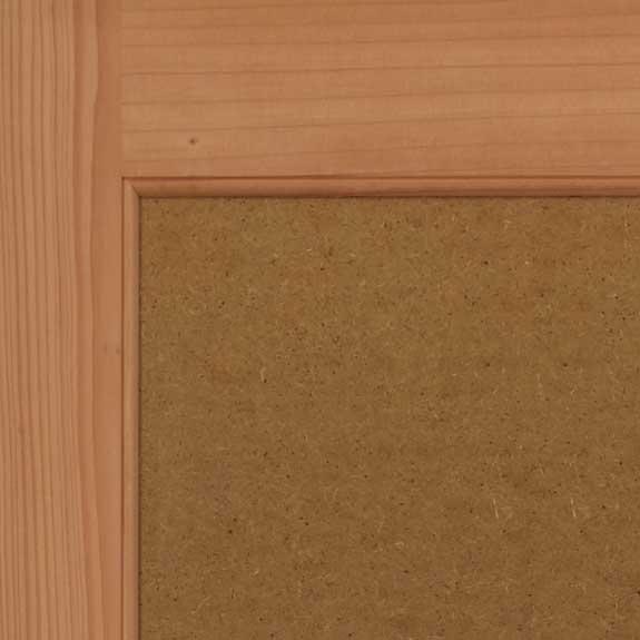 Wooden flat panel shutter close view.