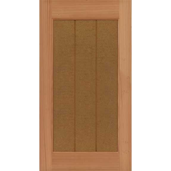 Outdoor shaker shutters with vertical grooves in solid redwood.