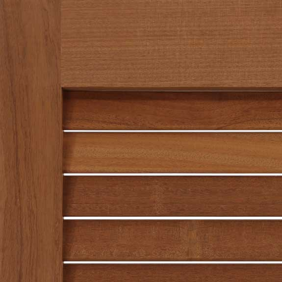 Louvered exterior Mahogany shutter zoom view.