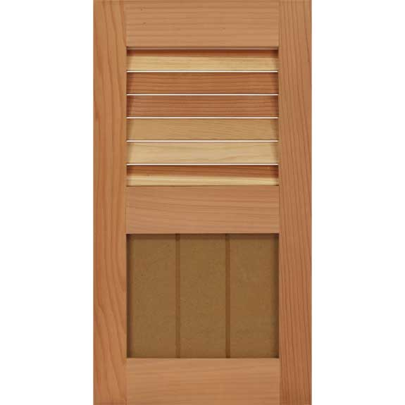 Custom wood hybrid shutter with louvers and shaker panel for outdoor windows.