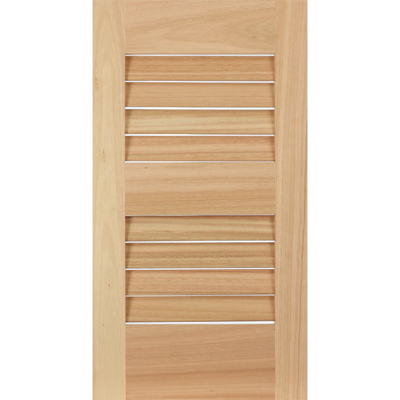 Premium wood Red Grandis louvered exterior shutter.