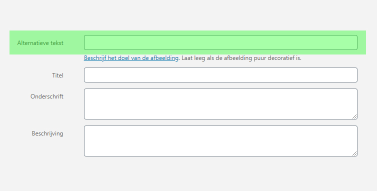 screenshot venster alt-tags of alternatieve tekst bewerken in WordPress