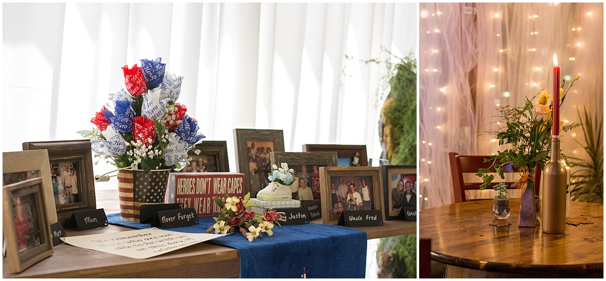 patriotic wedding details black hills receptions firehouse wine cellar tulle backdrop