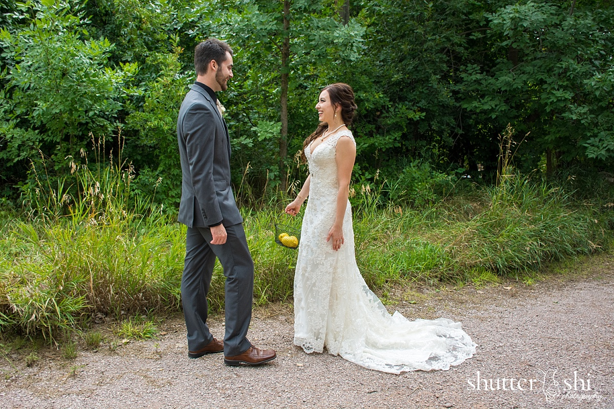 Outdoor Campus West Rapid City South Dakota First Look Wedding Photo