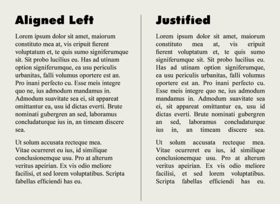 rata kiri vs justify